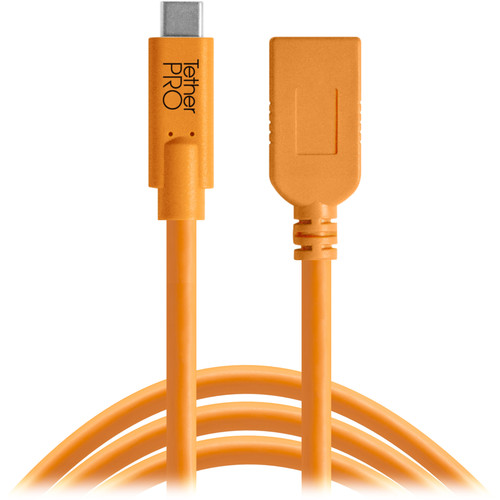 Tether Tools CUCA415-ORG TetherPro USB Type-C to USB Type-A Extension Cable (15', Orange)