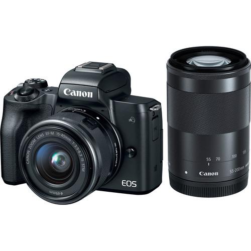 Canon EOS-M50 Mirrorless Digital Camera + EF-M 15-45mm F/3.5-6.3 IS STM + EF-M 55-200mm F/4-5.6 IS STM (Black) [Free 32GB SD Card + Camera Bag]