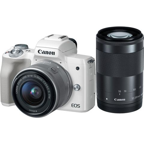 Canon EOS-M50 Mirrorless Digital Camera + EF-M 15-45mm F/3.5-6.3 IS STM + EF-M 55-200mm F/4-5.6 IS STM (Silver) [Free 32GB SD Card + Camera Bag]