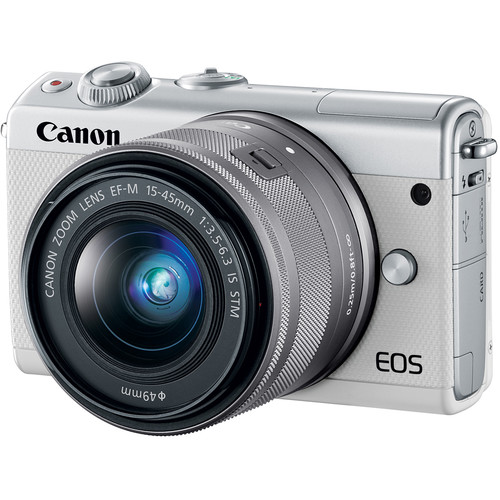 (CNY Offer) Canon EOS-M100 + EF-M 15-45mm F/3.5-6.3 IS STM + EF-M 22mm F/2 STM (White) [Free 16GB SD Card + Camera Bag]