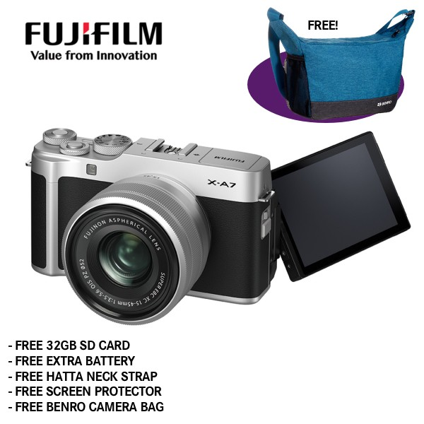 Fujifilm X-A7 + XC 15-45mm f/3.5-5.6 OIS PZ (Silver) [Free 32GB SD Card + NP-W126S Battery + Hatta Neck Strap + Screen Protector + Benro Freeshoot 30 Camera Bag]
