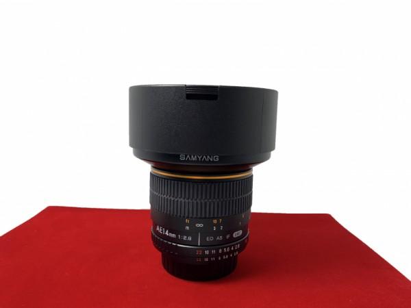 [USED-PJ33] Samyang 14MM F2.8 AE ED AS IF UMC  (Nikon), 95% Like New Condition (S/N:F411J0007)