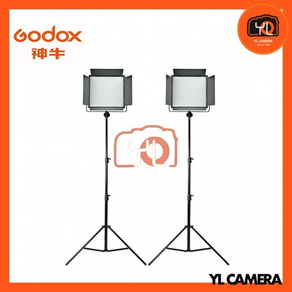 Godox LED1000D II Daylight DMX LED Video Light 2 Light Stand Kit