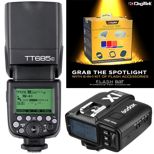 Godox TT685C Thinklite TTL Flash with X1T-C Trigger Kit for Canon + Digitek Flash BOT Kit DFB-001 Combo Set