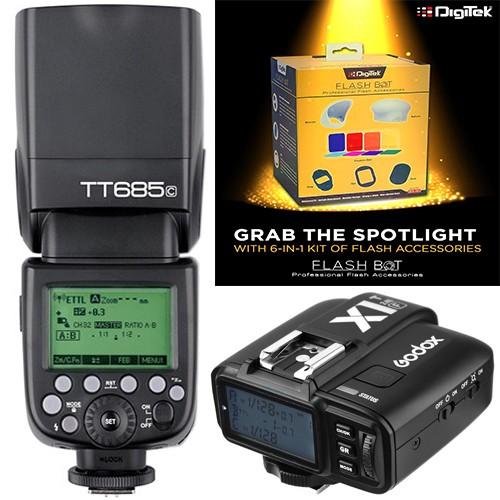Godox TT685C Thinklite TTL Flash with X1T-C Trigger Kit for Canon + Digitek Flash BOT Kit DFB-001 Combo Set
