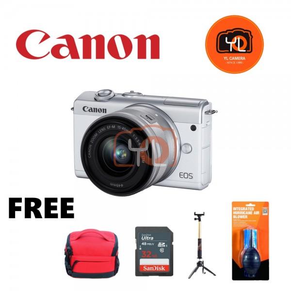Canon EOS M200 + EF-M 15-45mm F/3.5-6.3 IS STM (White) [Free 32GB SD Card + Camera Bag ]