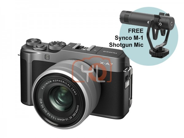 Fujifilm X-A7 + XC 15-45mm f/3.5-5.6 OIS PZ (Dark Silver) W/ Synco M-1 Shotgun Mic [Free 32GB SD Card]