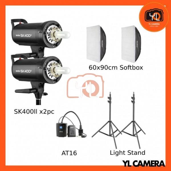 Godox SK400II Studio Flash 2 Lihgt Kit (60x90cm Sfotbox , Light Stand , AT16 Trigger)