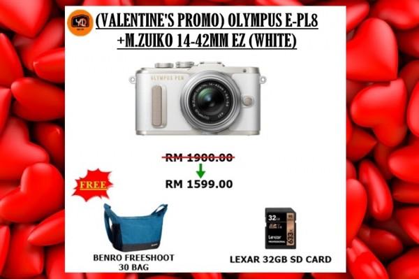 Olympus E-PL8 +  M.Zuiko 14-42mm EZ (White) [Free Lexar 32GB 95MB SD Card + Benro  Camera Bag]