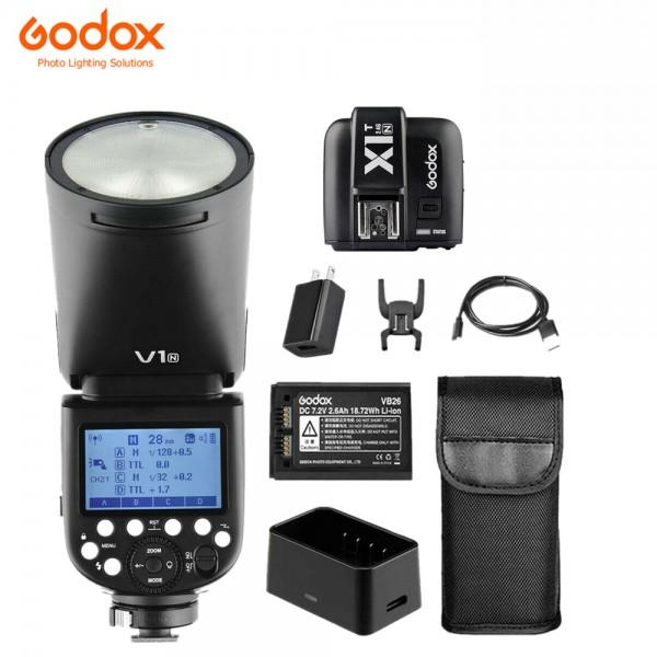 Godox V1N Niokn TTL Li-ion Round Head Flash Wiht X1T-N Fro Nikon Combo Set
