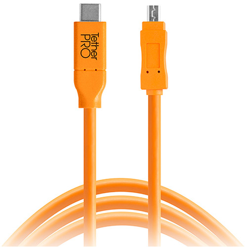 Tether Tools CUC2615-ORG TetherPro USB Type-C Male to 8-Pin Mini-USB 2.0 Type-B Male Cable (15', Orange)