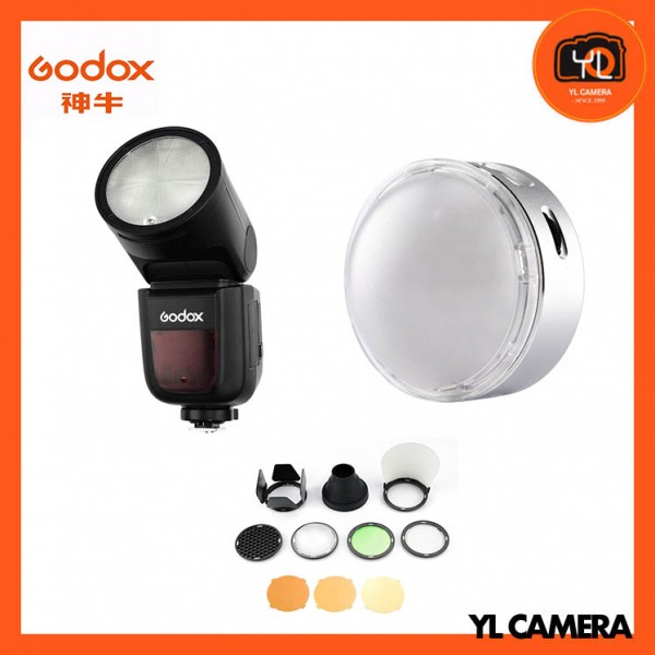 Godox V1 TTL Li-ion Round Head Flash Sony + R1 Round RGB Mini Creative Light With Godox AK-R1 Accessory Kit Combo Set