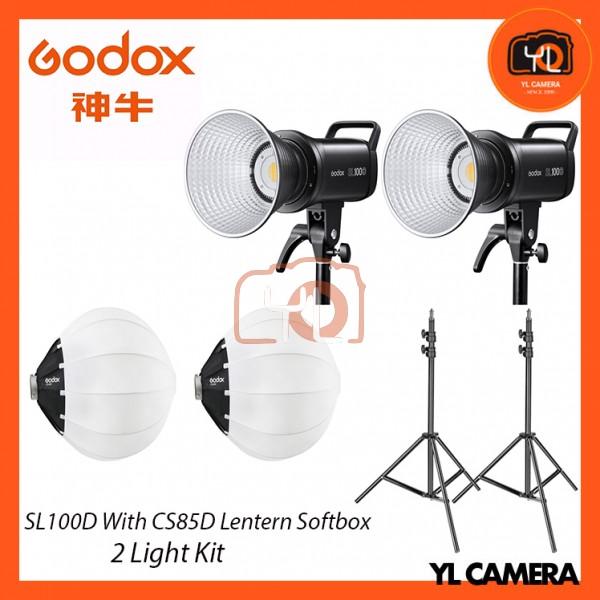 Godox SL100D Daylight LED With CS-85D Collapsible Lantern Softbox + 280CM Light Stand (2 Light Duo Kit)