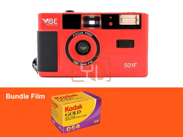 VIBE Photo 32mm Film Camera - RED (Free Kodak Gold 200)
