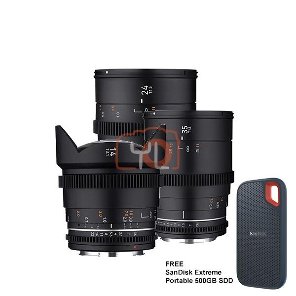 Samyang VDLSR MK2 Video Lens Set (14mm, 24mm, 35mm) - Canon RF