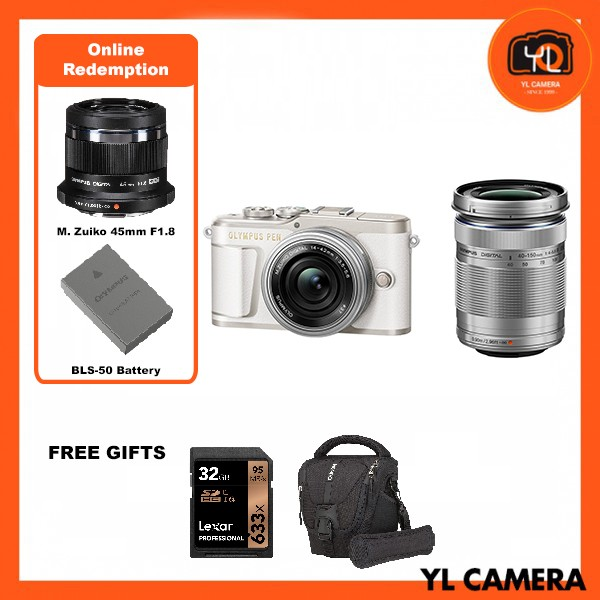 (Promotion) Olympus E-PL9 Twin Lens Kit [14-42mm + 40-150mm] (White) [Free Lexar 32GB 95MB SD Card + Benro ELZ10 Camera Bag] [Online Redemption 45mm F1.8 + Extra Battery]