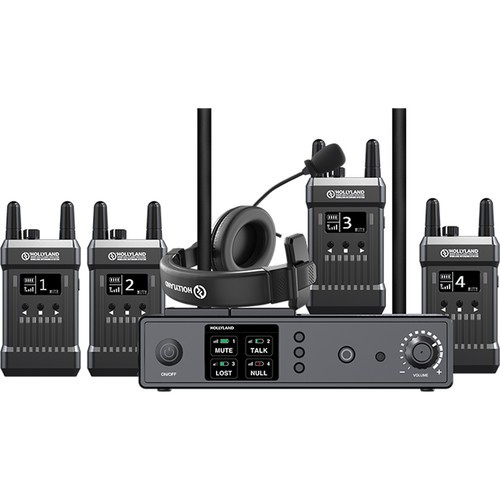 Hollyland Mars 1000T Full Duplex Wireless Intercom System (1 Base Station and 4 Beltpacks)
