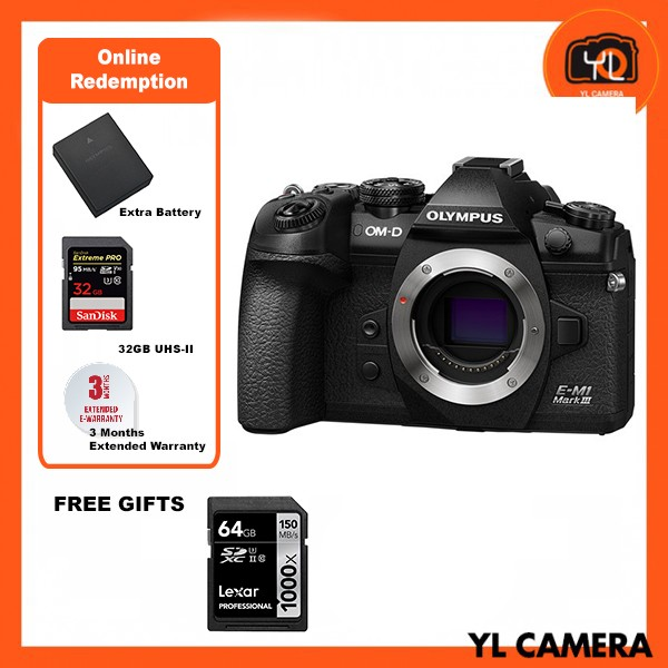 (Promotion) Olympus E-M1 Mark III – Black (FREE Lexar 64GB 150MB SD Card) [Online Redemption Extra Battery + 32GB SD Card UHS-II]