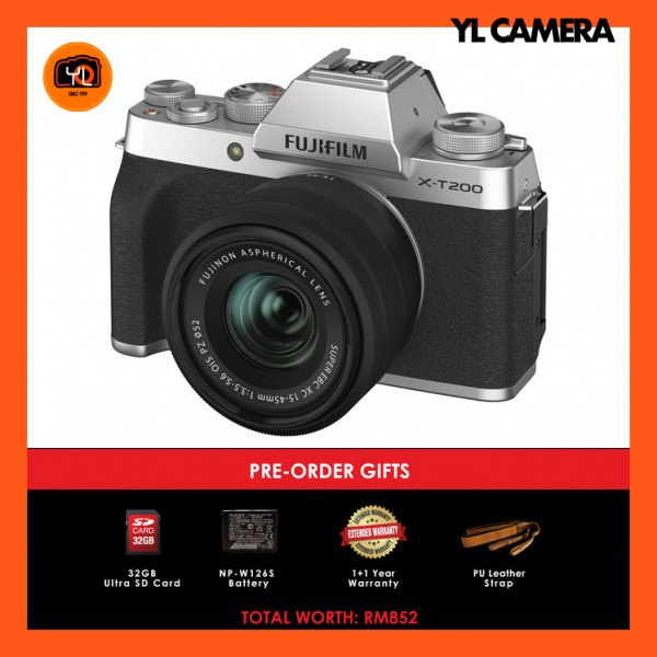 (Pre-Order) Fujifilm X-T200 + XC 15-45mm f/3.5-5.6 OIS PZ (Silver) [Free 32GB SD Card + Extra Battery + Extra Warranty + Leather Strap)