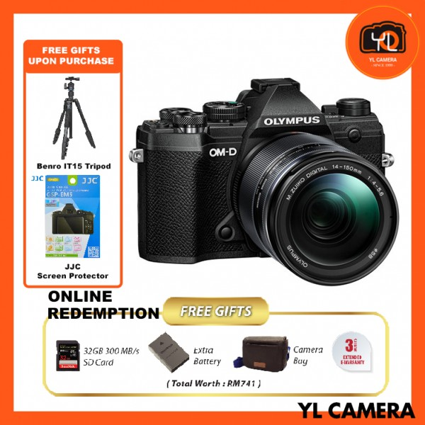 (Promotion) Olympus OM-D E-M5 Mark III W/ 14-150mm Lens – Black (FREE Benro IT-15 Tripod + JJC Screen Protector) [Online Redemption Extra Battery + 32GB SD Card UHS-II + Olympus Bag]