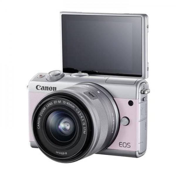 Canon EOS-M100 + EF-M 15-45mm F/3.5-6.3 IS STM (Pink) [Free 16GB SD Card + Camera Bag]