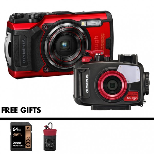 Olympus Tough TG-6 + PT-059 Underwater Housing (RED) [Free LEXAR 64GB SD Card]