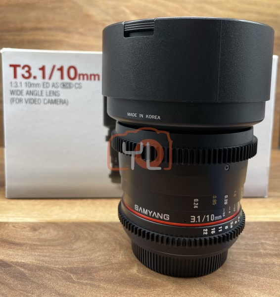 [USED @ YL LOW YAT]-Samyang 10mm T3.1 VDSLR Lens For Canon,95% Condition Like New,S/N:F414D0454