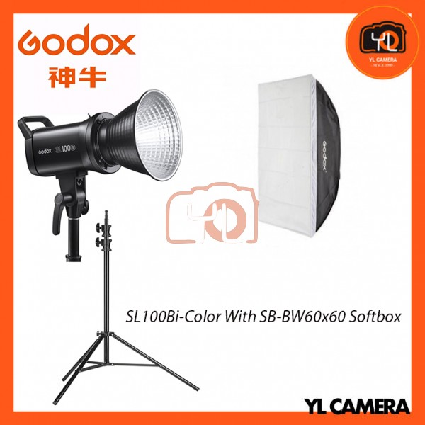 Godox SL100Bi Bi-Color LED With SB-BW60x60 Softbox + 280CM Light Stand (1 Light Kit)