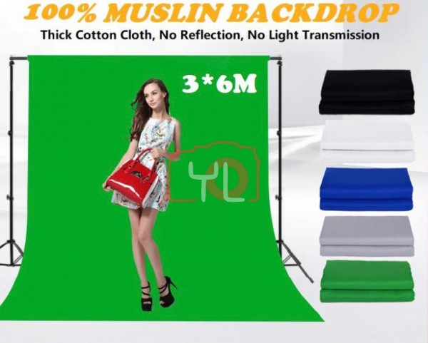 Cotton 3x6m Studio Backdrop Green Screen (Black/White/Grey/Green/Blue) Not Including BackDrop Stand