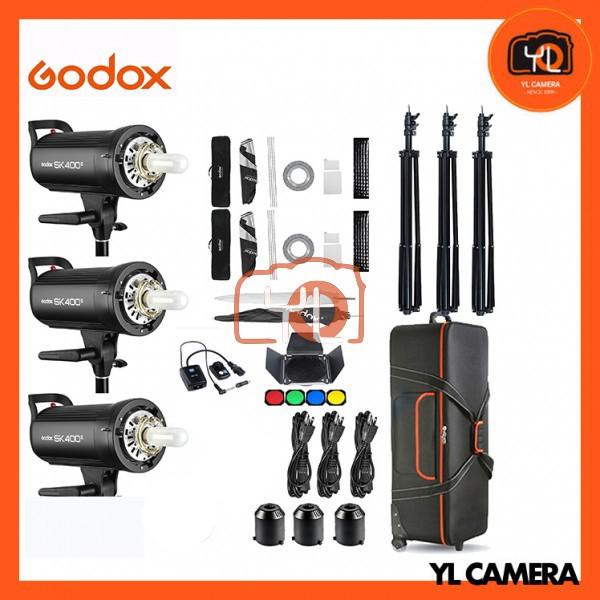 Godox SK400II Studio Strobe Super Advance Studio Kit Set (3 Lights, 60x60cm Softbox, Barndoor, Trigger, Umbrella, Trolley Case)