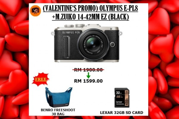 Olympus E-PL8 +  M.Zuiko 14-42mm EZ (Black) [Free Lexar 32GB 95MB SD Card + Benro  Camera Bag]
