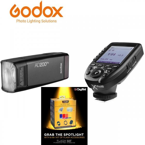 Godox AD200Pro TTL Pocket Flash Kit XPRO-N Nikon + Digitek Flash BOT Kit DFB-001 Combo Set