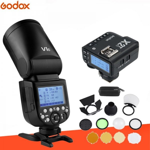 GODOX V1F Fujifilm TTL Li-ion Round Head Camera Flash Kit X2T-F Fujifilm With AK-R1 Combo Set
