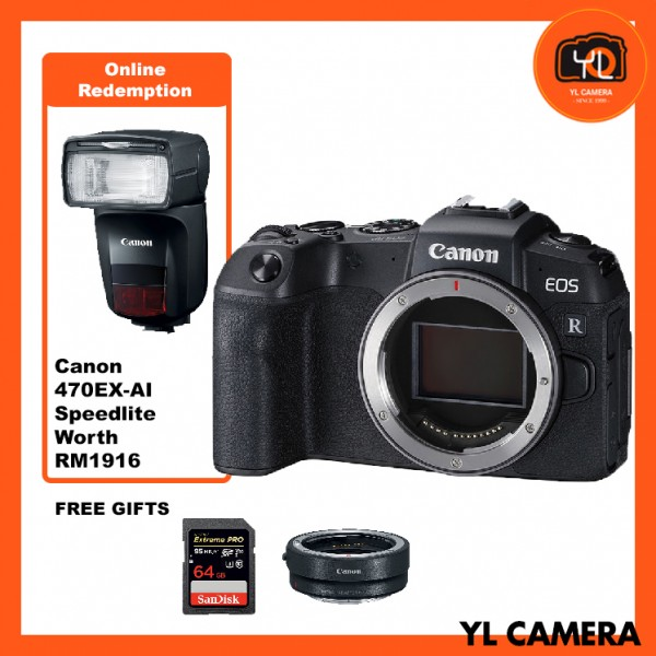 (Promotion) Canon EOS RP (Body Only) [Free EF-EOS R Lens Mount Adapter + SanDisk ExtremePRO 64GB SD Card]* Online Redeem 470 EX-AI Speedlite worth RM1916*