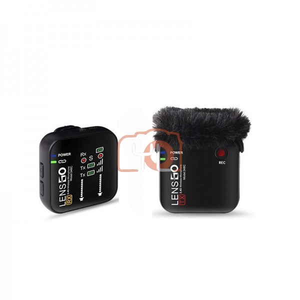 Lensgo 348C 2.4G Wireless Microphone Support TF card With Charging Case Lapel Mic For Phone/Camera - Single (Black)