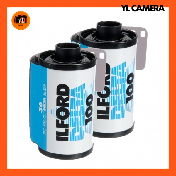 Ilford Delta 100 Professional Black and White Negative Film (35mm Roll Film, 36 Exposures) – Pack of 2