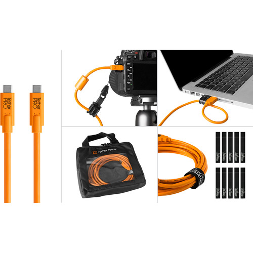 Tether Tools BTKC15-ORG Starter Tethering Kit with USB 3.0 Type-C to Type-C Cable (15', Orange)