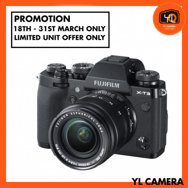 (Promotion) Fujifilm X-T3 + XF 18-55mm f/2.8-4R LM OIS (Black) [Free 32GB SD Card UHS-II]