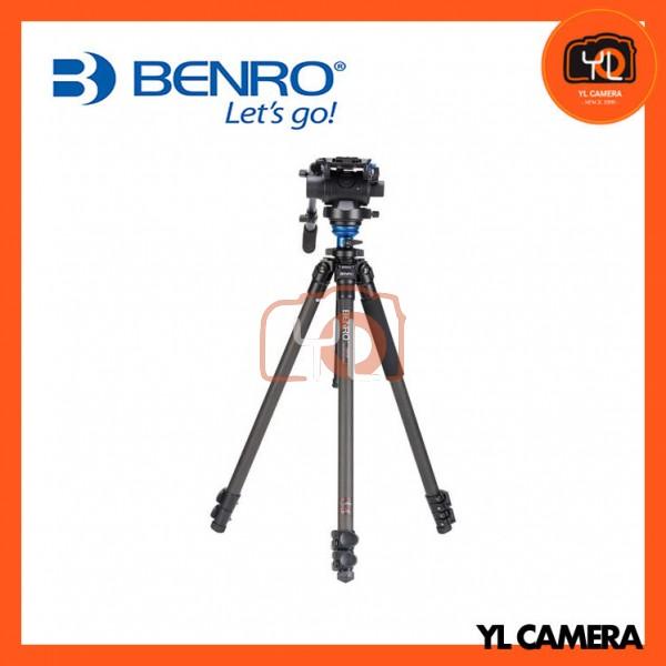 Benro C2573FS6 S6 Video Head and CF Flip Lock Legs Carbon Fiber Video Tripod Kit