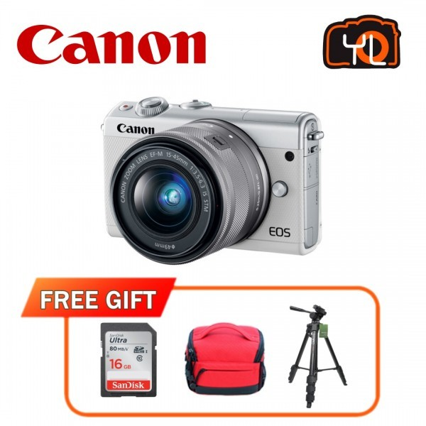 (CNY Offer) Canon EOS-M100 + EF-M 15-45mm F/3.5-6.3 IS STM (White) [Free 16GB SD Card + Camera Bag]