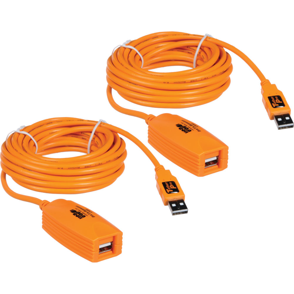 Tether Tools CU1933 TetherPro USB 2.0 Active Extension Cable (32', Orange)