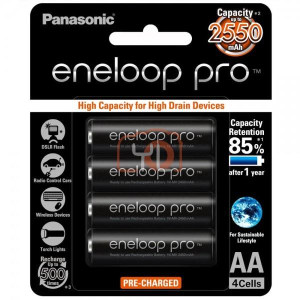 Panasonic Eneloop PRO AA Rechargeable Batteries (2550mAh, Pack of 4)