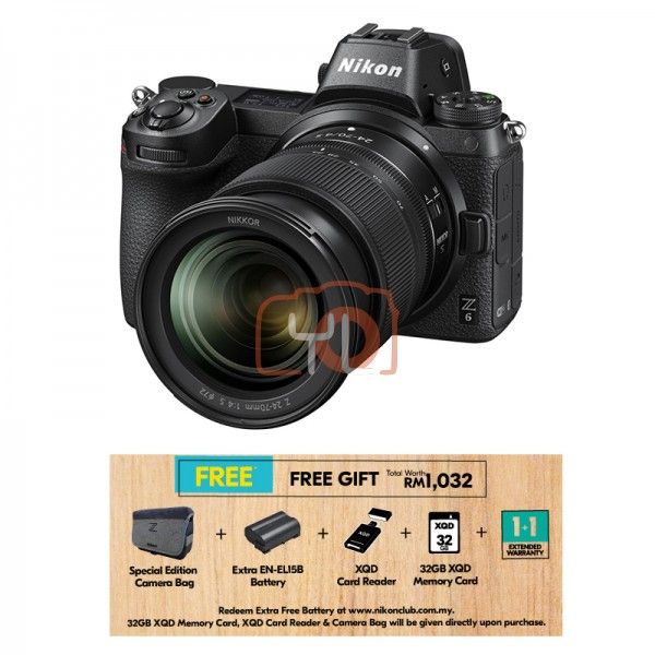 Nikon Z 6 + Z 24-70mm F4 S (Free 32GB XQD Card & XQD Card Reader & Camera Bag) [Online Redemption Extra Battery + 1 Year Extended Warranty]