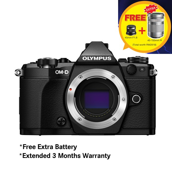 (Merdeka PROMO) Olympus OM-D E-M5 Mark II (Black) [Free M.Zuiko 45mm F1.8 + Extra Battery + SanDisk 64GB Extreme SD Card]