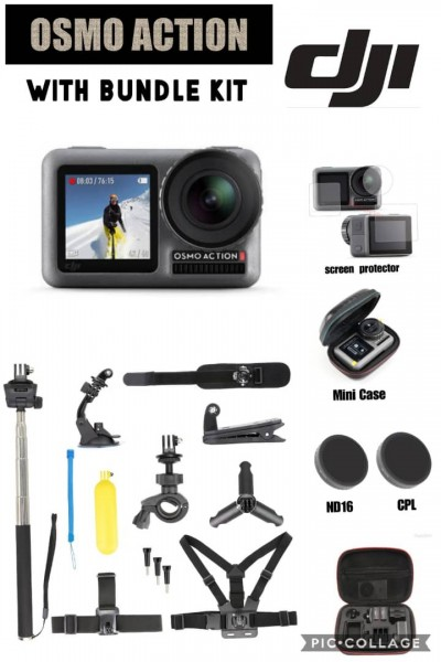 DJI Osmo Action 4K Camera BUNDLE Kit (FREE Lexar 64GB Micro SD Card)