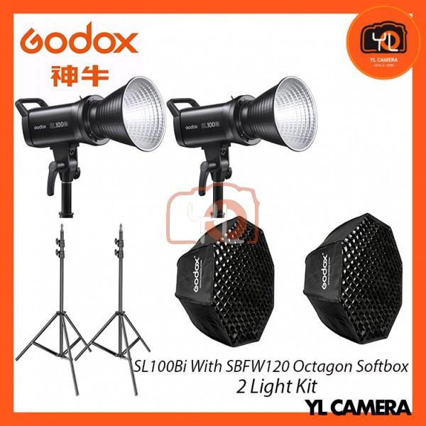 Godox SL100Bi Bi-Color LED With SB-FW120cm Octagon Soft Softbox + 280CM Light Stand (2 Light Duo Kit)