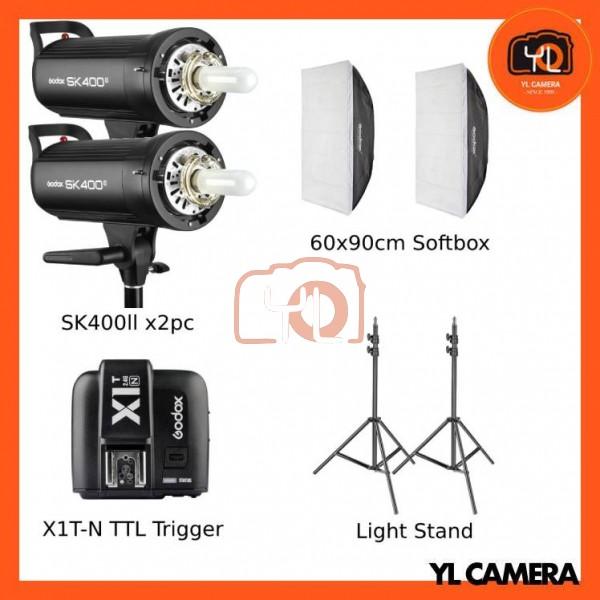 Godox SK400II Studio Flash 2 Lihgt Kit (60x90cm Sfotbox , Light Stand , X1T-Nikon TTL Trigger)