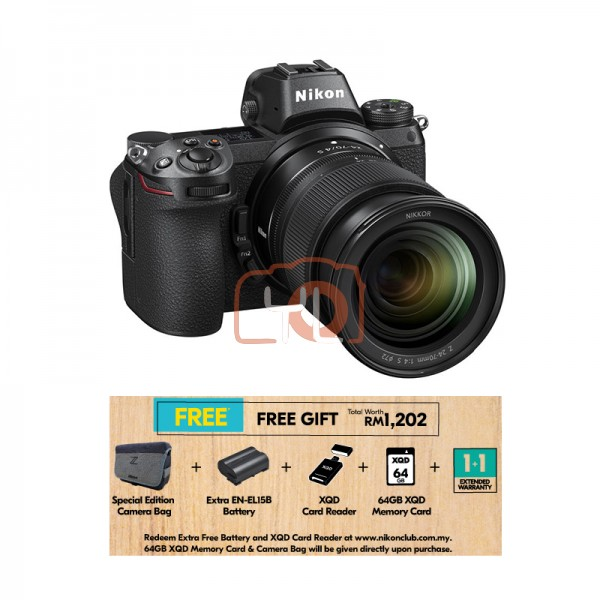 Nikon Z 7 + Z 24-70mm F4 S [Free 64GB XQD Card & Camera Bag] (Online Redemption XQD Card Reader + Extra Battery + 1 Year Extended Warranty)