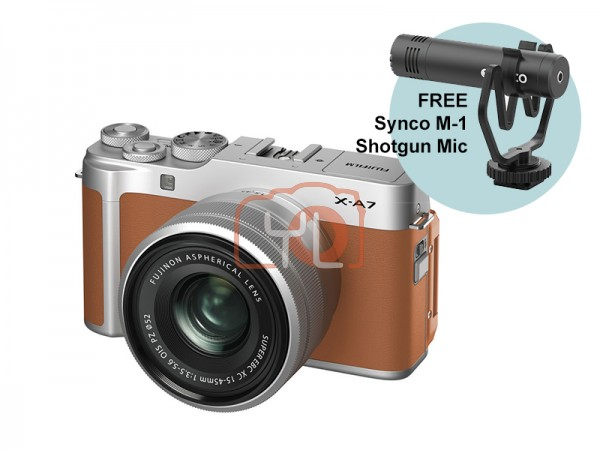 Fujifilm X-A7 + XC 15-45mm f/3.5-5.6 OIS PZ (Camel Brown) W/ Synco M-1 Shotgun Mic [Free 32GB SD Card]