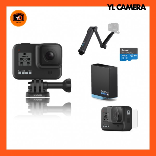 GoPro HERO8 Black - 3-Way Bundle Set W/ Screen Protector Kit
